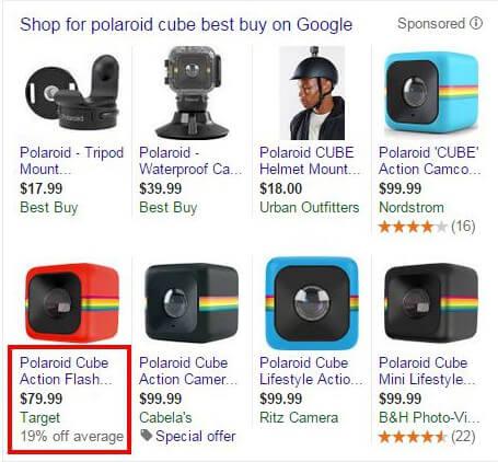 prueba de porcentaje de descuento en anuncios de lista de productos de Google Shopping