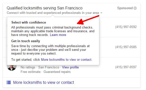 calificaciones para listados de servicios para el hogar de Google