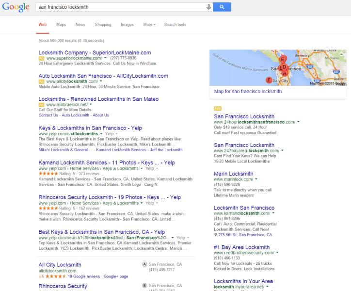 serp de servicios locales de google antes de los anuncios de servicios domésticos locales