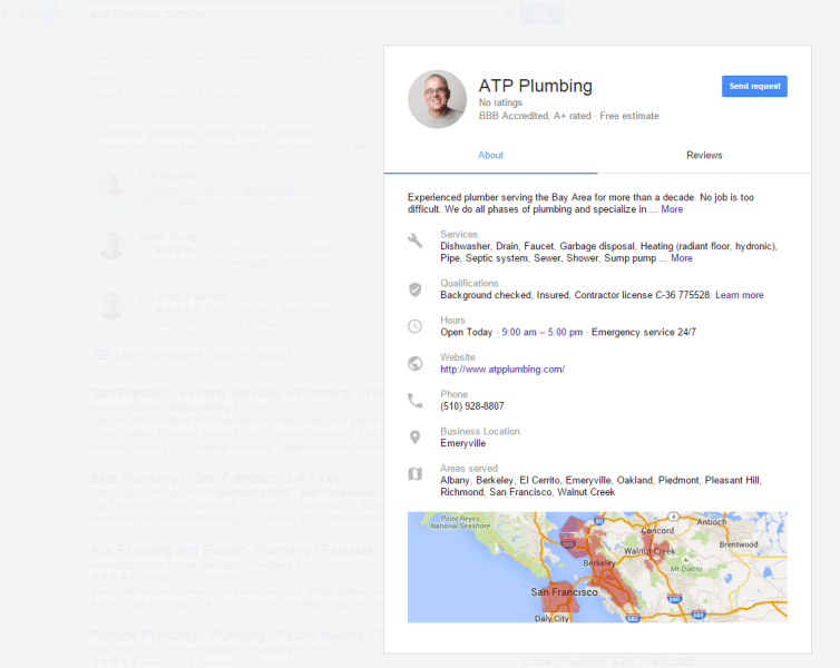 Página de perfil individual del anuncio de servicios para el hogar de Google