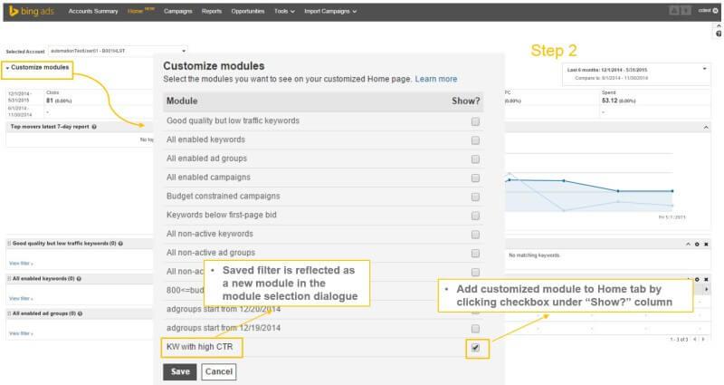 personalizar módulos página de inicio de anuncios de bing