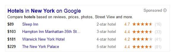 Bloque de anuncios de Google Hotel Finder