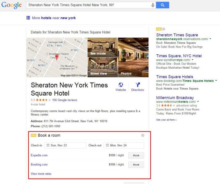 Anuncios de reserva de hotel de Google en paneles de información