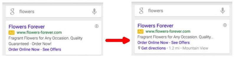 La extensión de anuncios móviles de Google AdWords reemplaza la segunda línea del texto del anuncio