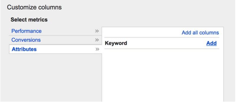 Agregar la columna de palabras clave en el informe de términos de búsqueda.