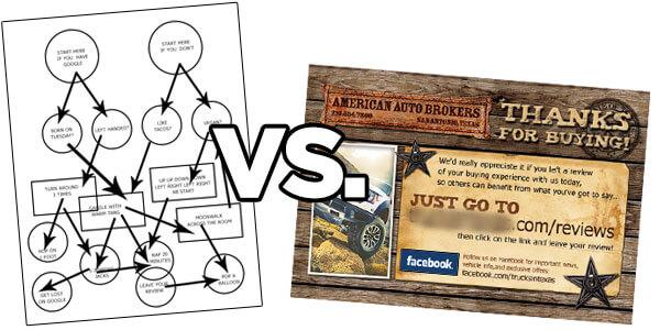 revisar folletos vs.revisar postales