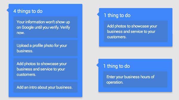 llamadas de finalización de información en Google My Business