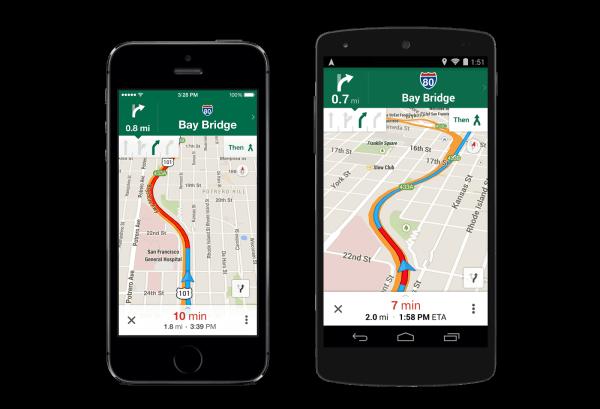 Navegación de carriles de Google Maps