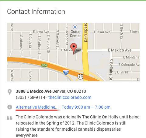 La página de Google+ de la Clínica Colorado