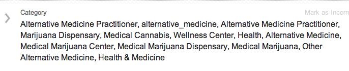 Categorías enumeradas en Colorado Clinic