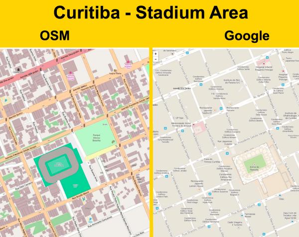 OSM frente a Google Maps