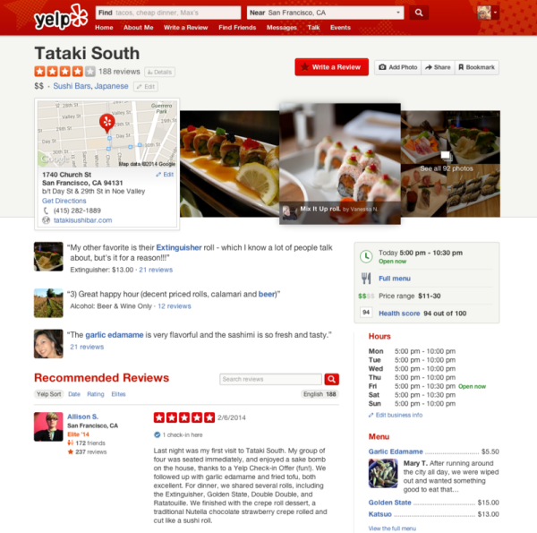 Tataki South nuevo perfil de Yelp