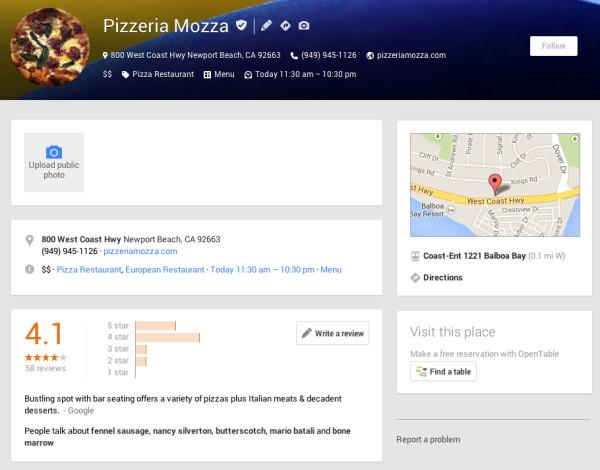 Pizzería mozza