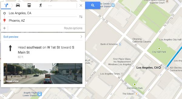 Vista previa de indicaciones de Street View