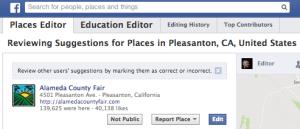 Editor de lugares de Facebook
