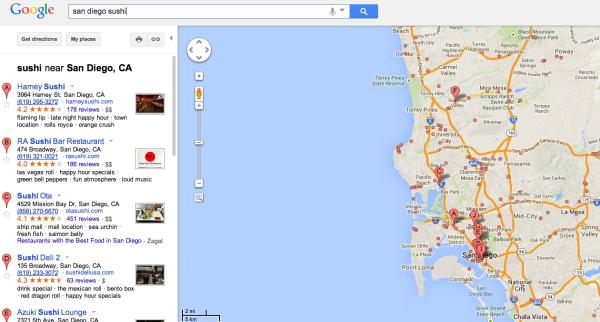 Sushi antiguo de Google Maps
