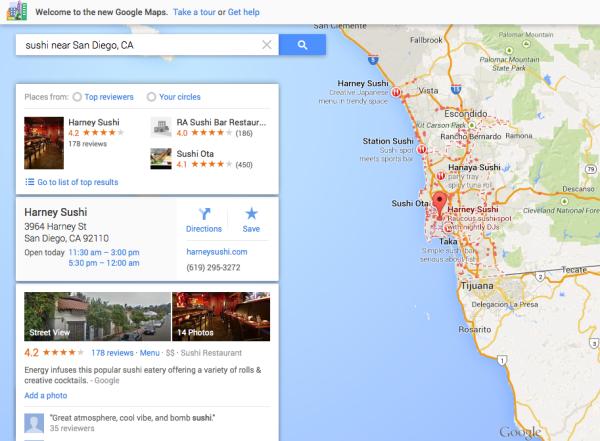 Resultado único de Google Maps Sushi