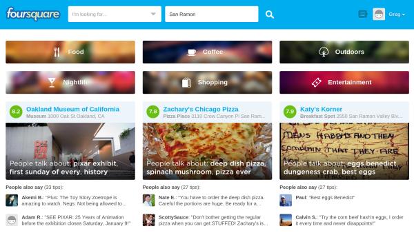 Foursquare ha iniciado sesión en una nueva página de inicio
