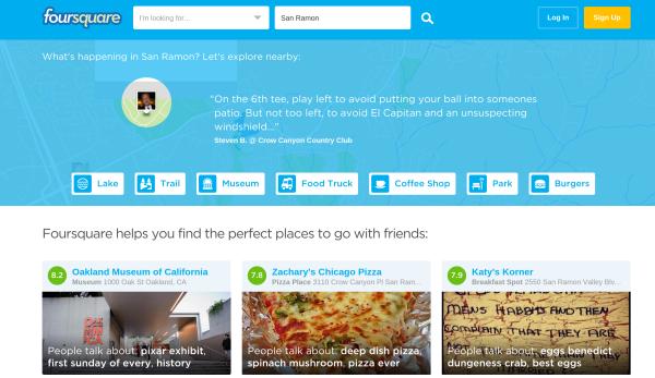 Nueva página de inicio de Foursquare