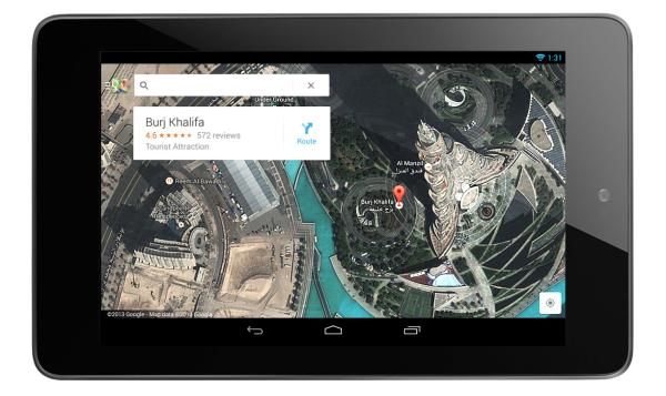 Aplicación Google Maps para tabletas