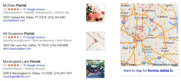 Floristerías en Dallas: lanzamiento de nuevos resultados de Google Maps