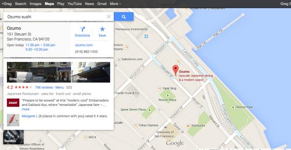 Nuevo sushi de Google Maps