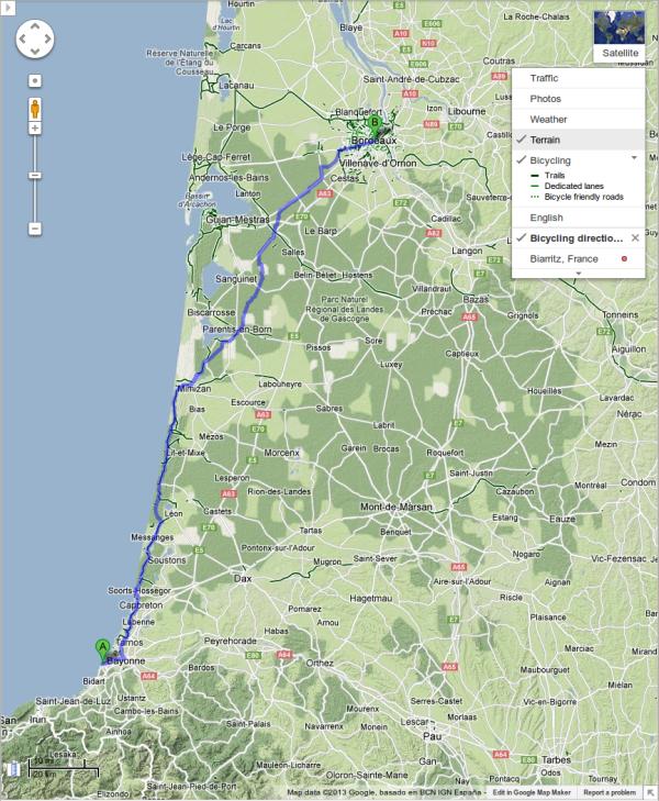Direcciones en bicicleta de Google Maps