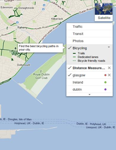 Leyenda de indicaciones en bicicleta de Google Maps