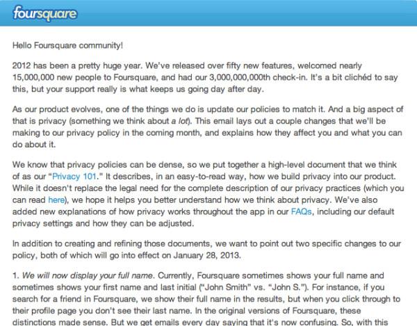 Cambios en la política de privacidad de Foursquare