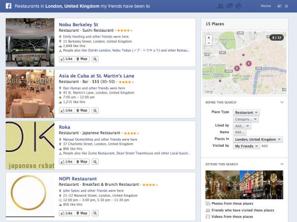 Resultados de la búsqueda del gráfico de Facebook del restaurante local