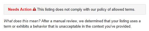 Mensaje del panel de control de Google Places: el listado necesita acción