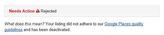 Google Places: mensaje de ficha rechazada