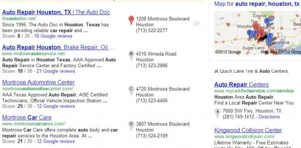 Talleres de reparación de automóviles: calificaciones en los resultados de búsqueda de Google Place