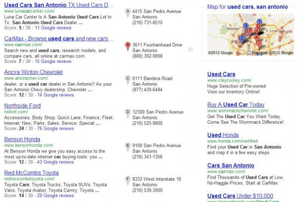Automóviles usados en Houston: ejemplo de empresas clasificadas de manera inversa según los valores de calificación de los usuarios