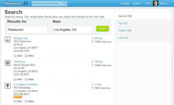 Búsqueda local en Foursquare para restaurantes de Los Ángeles