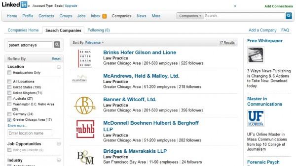 Búsqueda local en LinkedIn para abogados de patentes de Chicago
