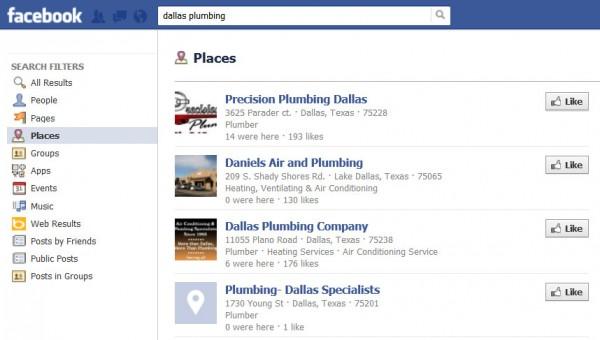 Búsqueda local en Facebook para plomeros de Dallas