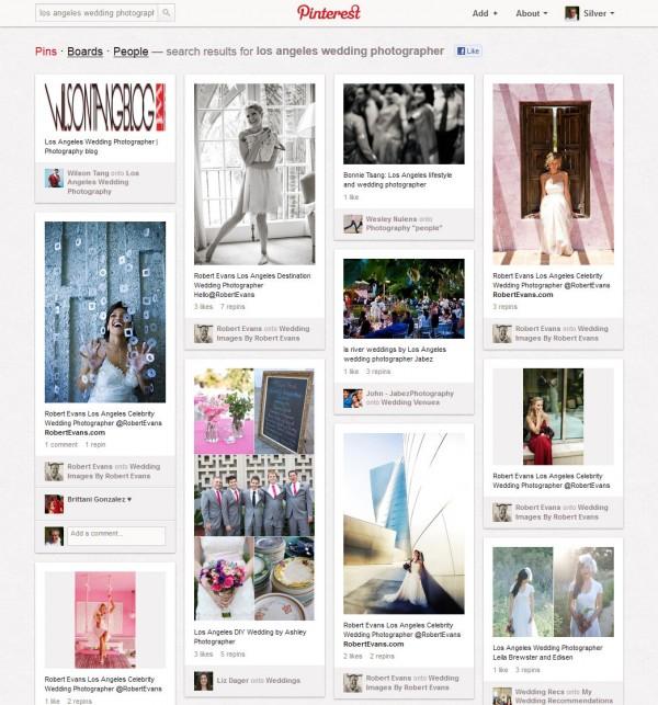 Búsqueda local en Pinterest para fotógrafos de bodas de Los Ángeles