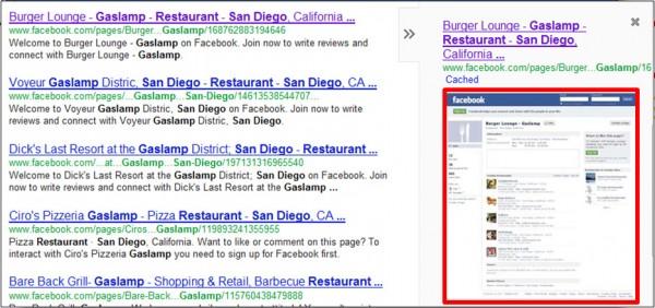 Registros de Facebook con spidered por Google