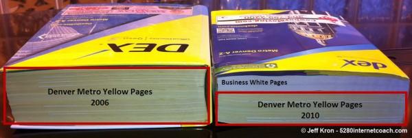 Libros de páginas amarillas que se encogen con el tiempo - foto de Jeff Kron, usada con permiso.