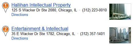 Imágenes en miniatura con listados de empresas en los resultados de búsqueda de Bing Local.