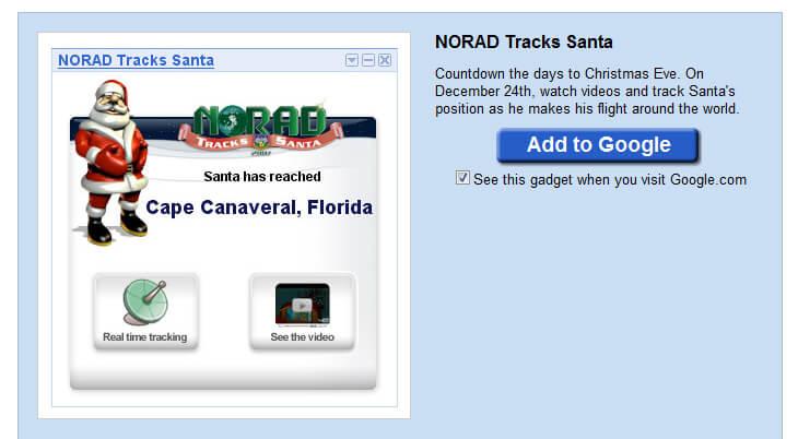 NORAD Tracks Santa iGoogle widget