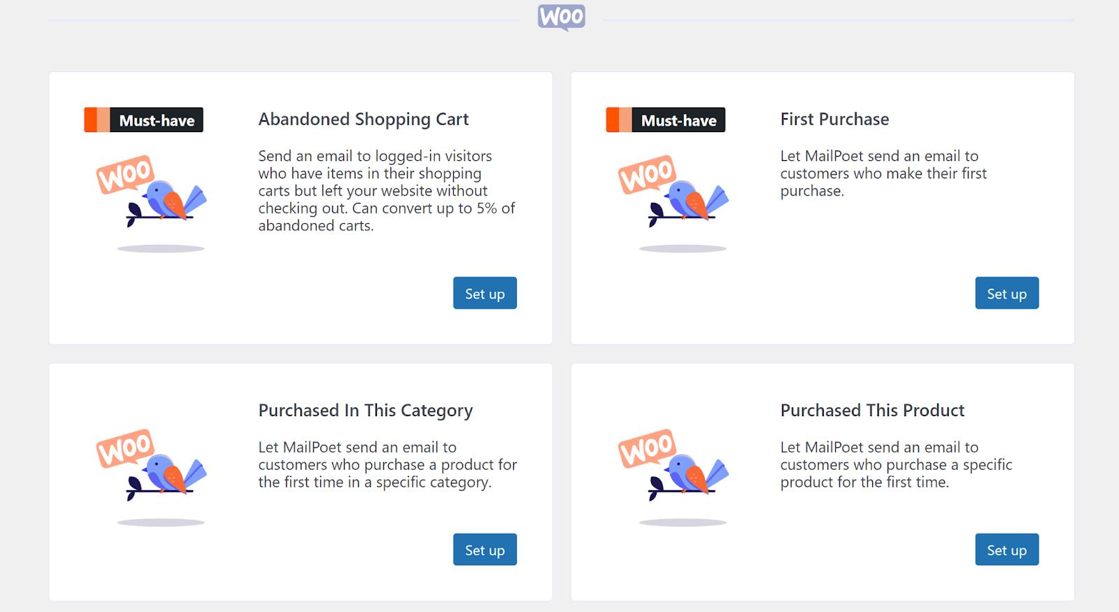 Opciones de correo electrónico de WooCommerce en MailPoet