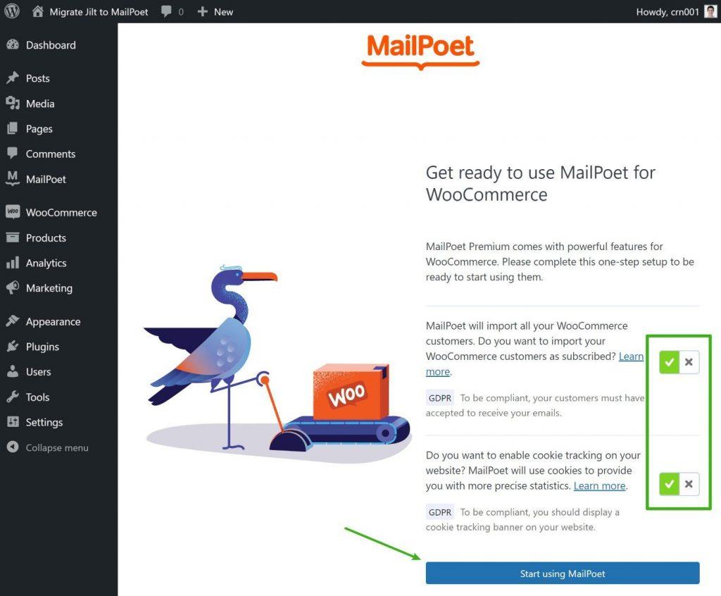 Sincronización de MailPoet WooCommerce