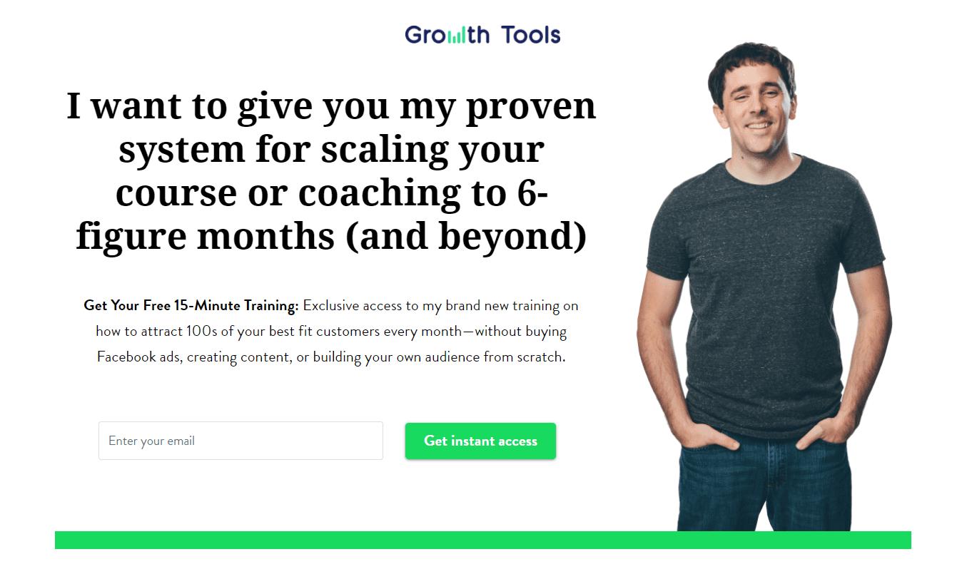 Página de inicio de las herramientas de crecimiento, parte uno