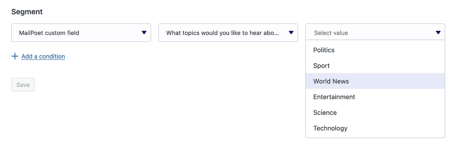 Segmentar por campos de formulario personalizados de MailPoet
