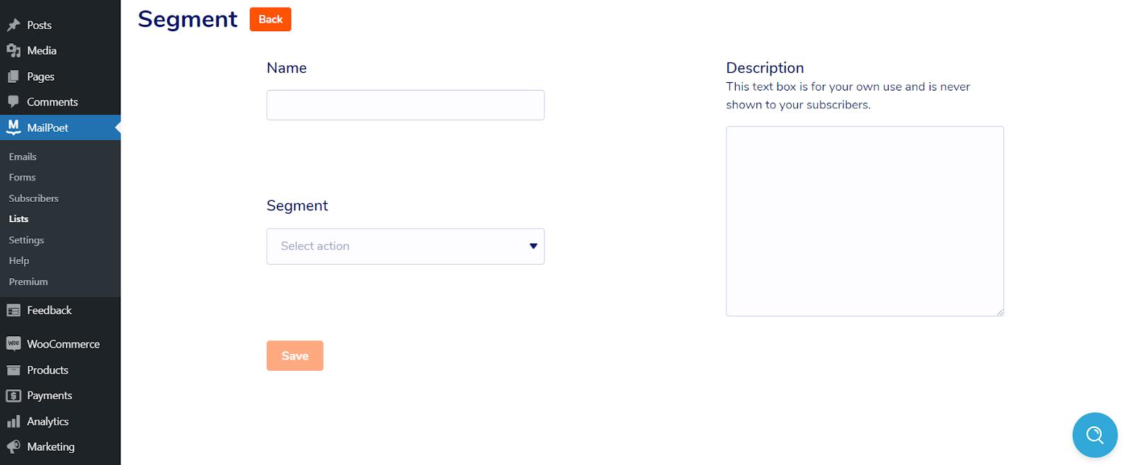 Marketing por correo electrónico para una empresa de suscripción de WooCommerce: página de creación de segmentos de MailPoet