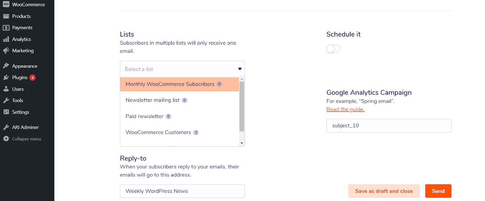Marketing por correo electrónico para una empresa de suscripción de WooCommerce: seleccione el segmento al que enviar su correo electrónico