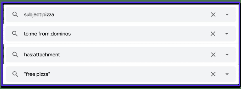 Ejemplos de algunos operadores de búsqueda de Gmail útiles