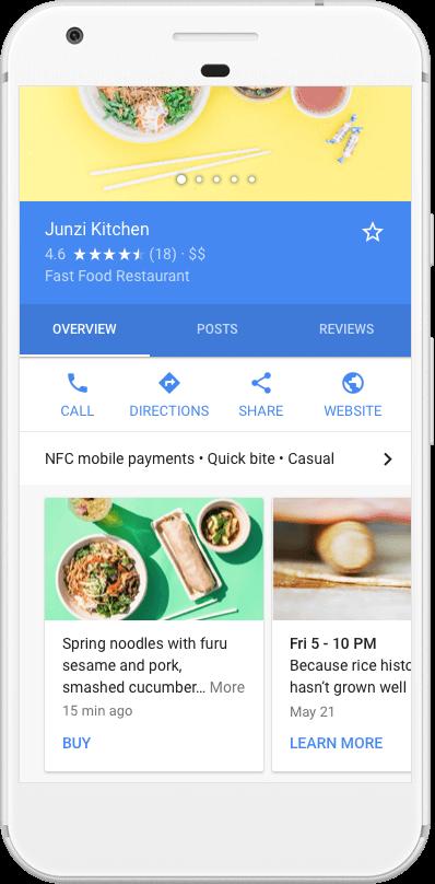 Publicaciones de Google en SERP